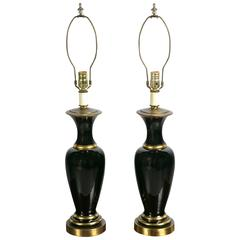 Black Opaline Lamps with Gilt Decoration