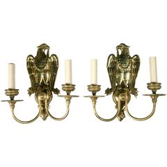 Federal Style Gilt Bronze Sconces