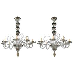 Pair of French Mercury Glass Chandeliers