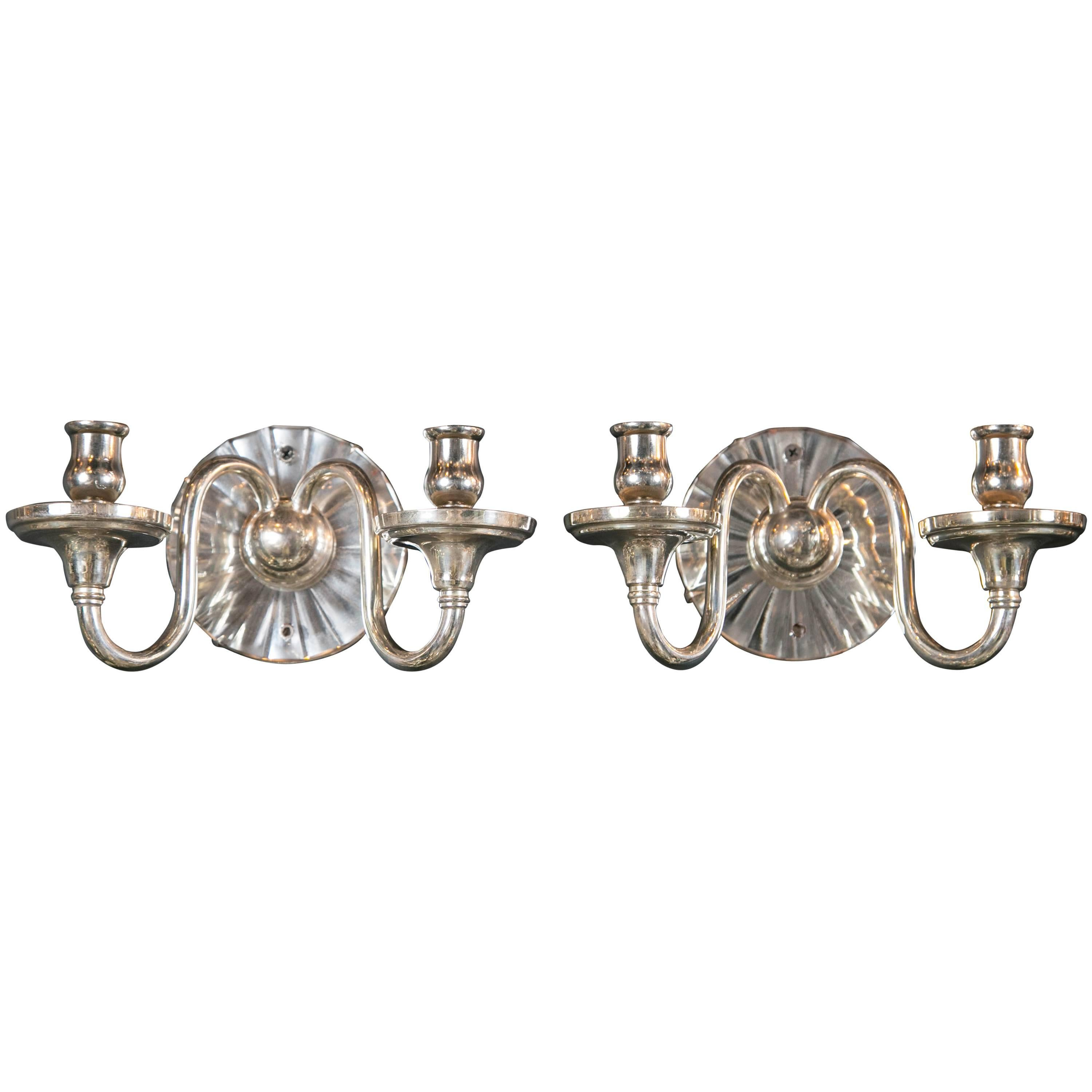 Pair Of Italian Two Light Sconces With Perforated Shades And Mirror