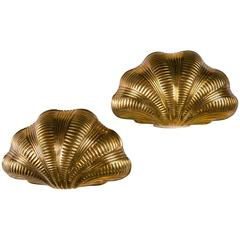 Italian Gilt Bronze Shell Sconces
