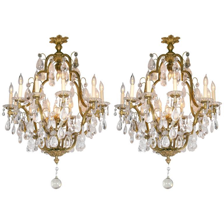 Pair of French Gilt Bronze Eighteen-Light Chandeliers