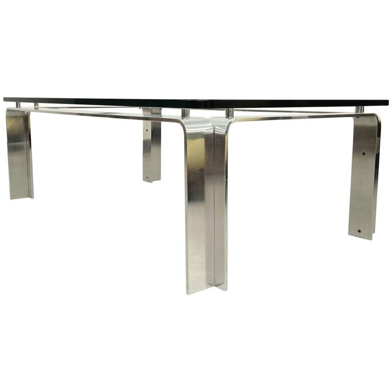 Mid-Century Bent Aluminum and Floating Glass Coffee Table