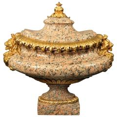 Very Fine French Late 19th Century Gilt Bronze and Rose Granite Centerpiece
