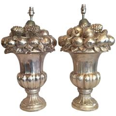 Pair of Large impressive Italian Silvered Ceramic Table Lamp Bases, signed