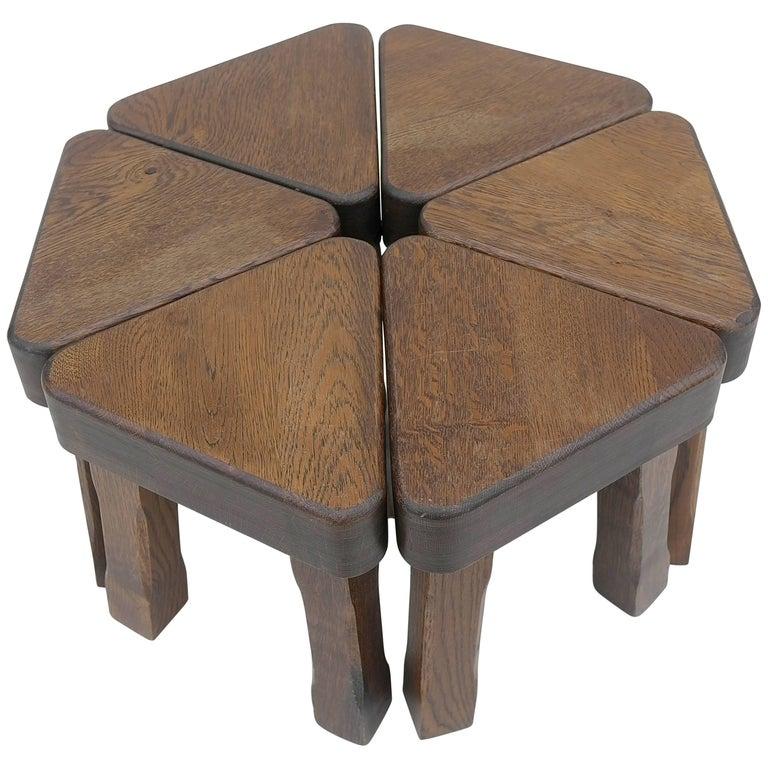 Oak Sculptural Nesting Tables, 1960s For Sale