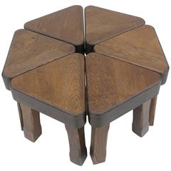 Oak Sculptural Nesting Tables, 1960s