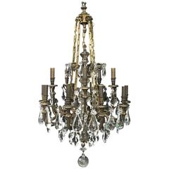 Antique Signed Baccarat Bronze and Crystal Chandelier
