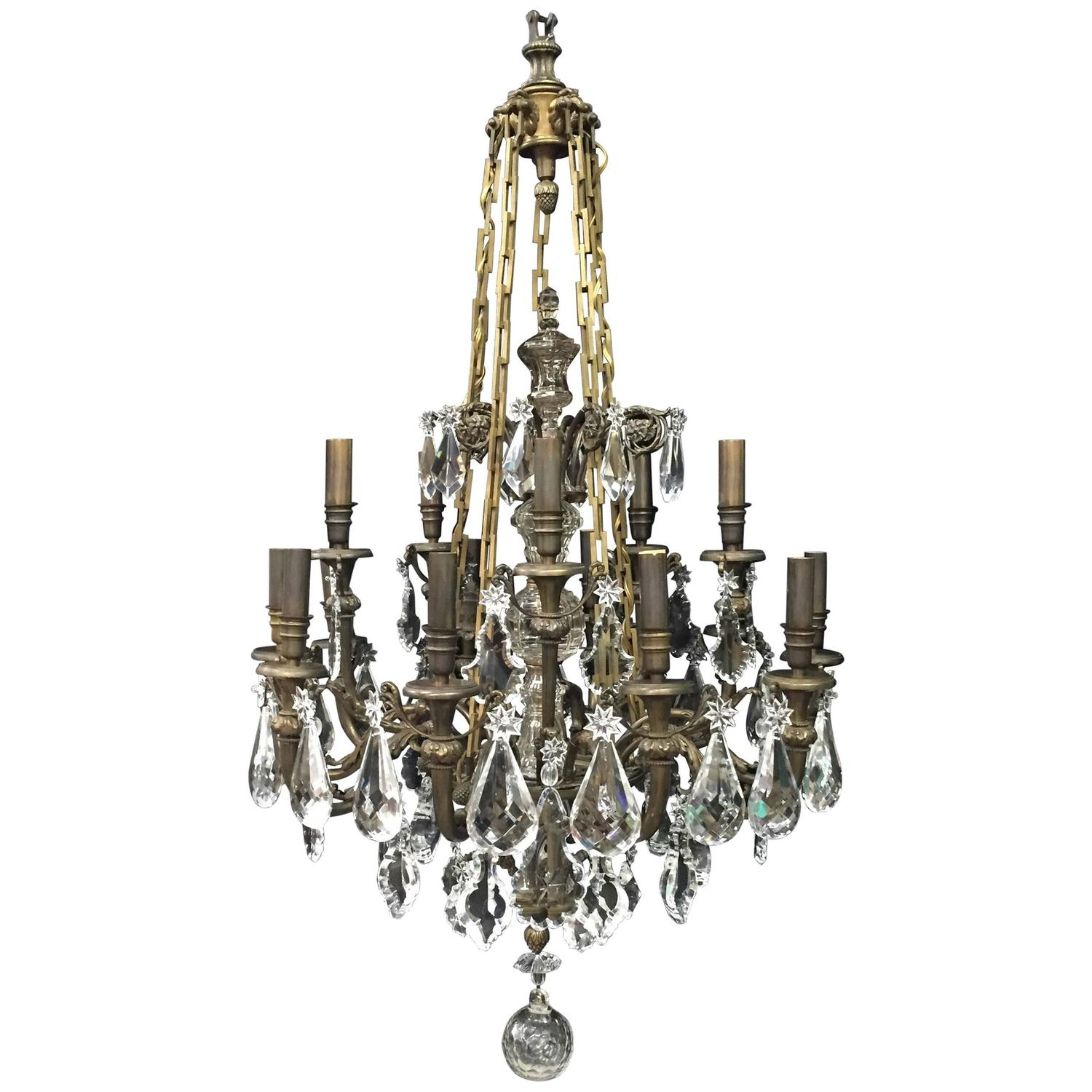 Pair of Baccarat Crystal and Bronze Chandeliers at 1stdibs
