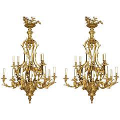 Pair of Louis XV Style Bronze Eighteen-Light Chandeliers