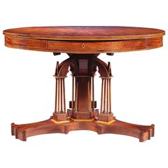 Mahogany Drum Table by Alphonse Giroux et Cie