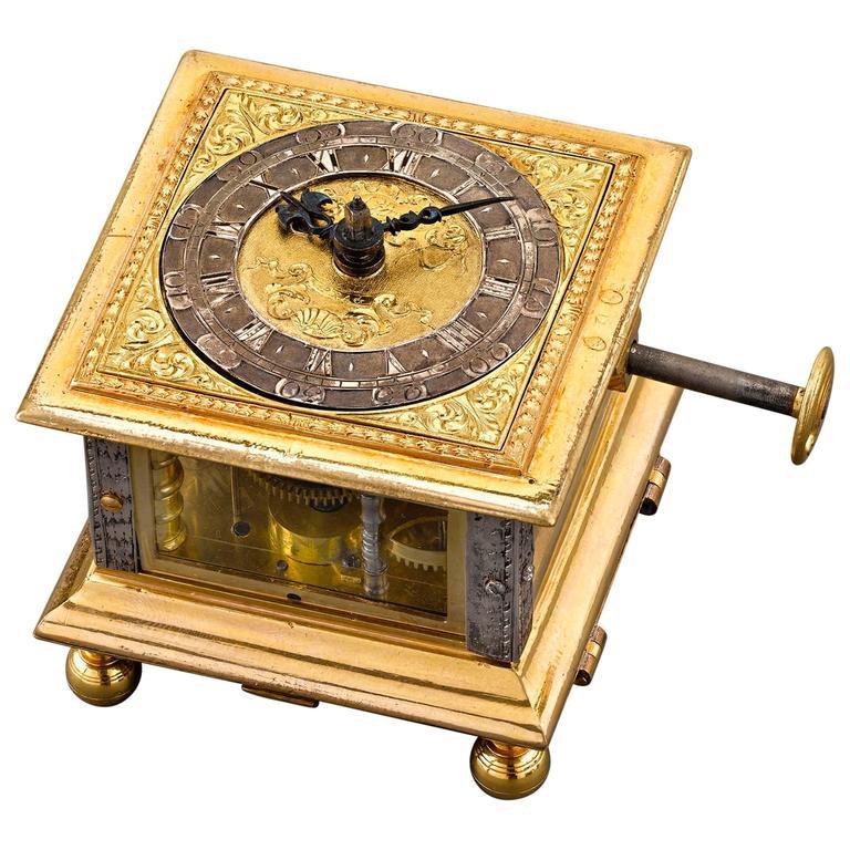 Renaissance Horizontal Table Clock For Sale