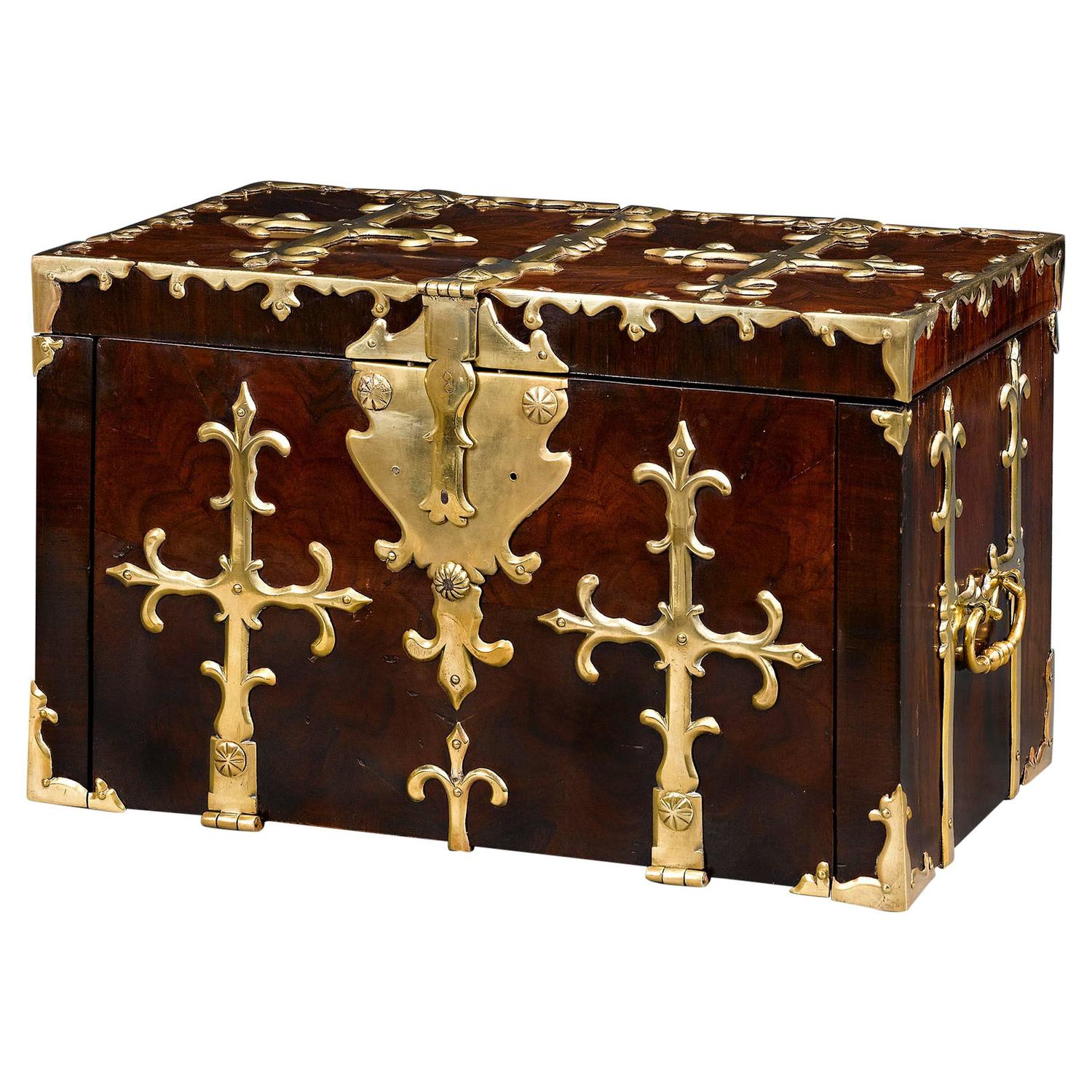 Decorative Boxes That Lock : English brass bound ship s lock box for sale at stdibs