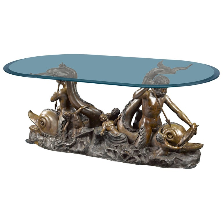 Nautical Bronze Sculptural Table For Sale
