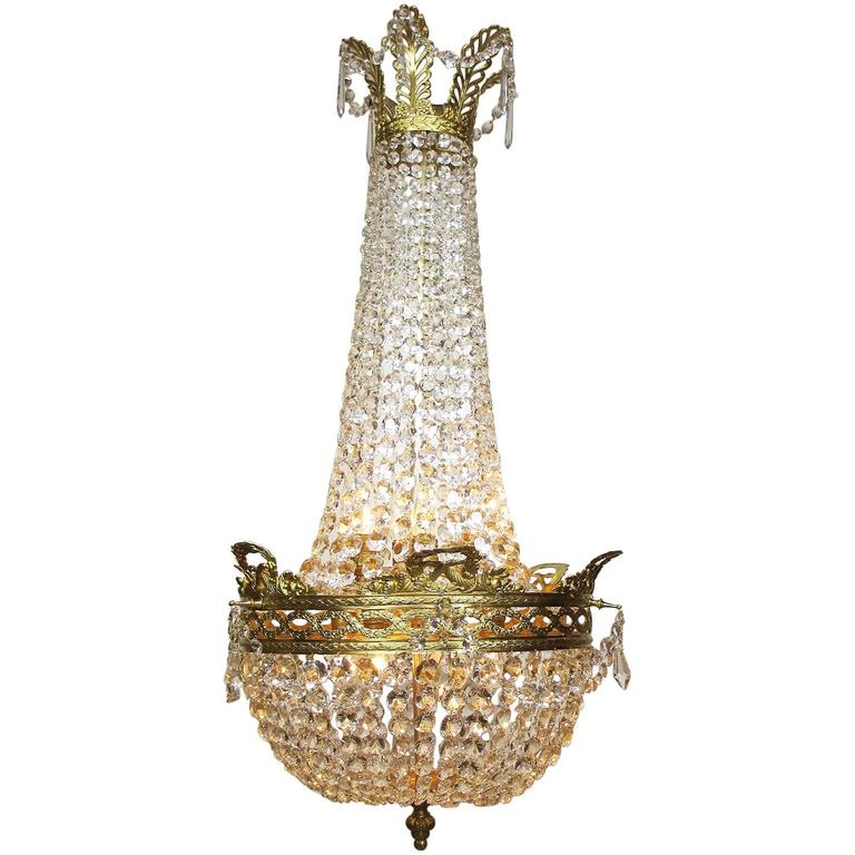 French 19th-20th Century Empire Style Gilt Metal and Cut-Glass Chandelier