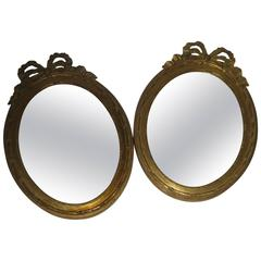 19th Century Napoleon III Petite Pair of French Giltwood Mirrors