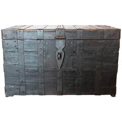 Antique Belgium Wood Trunk with Cast Iron, 1890