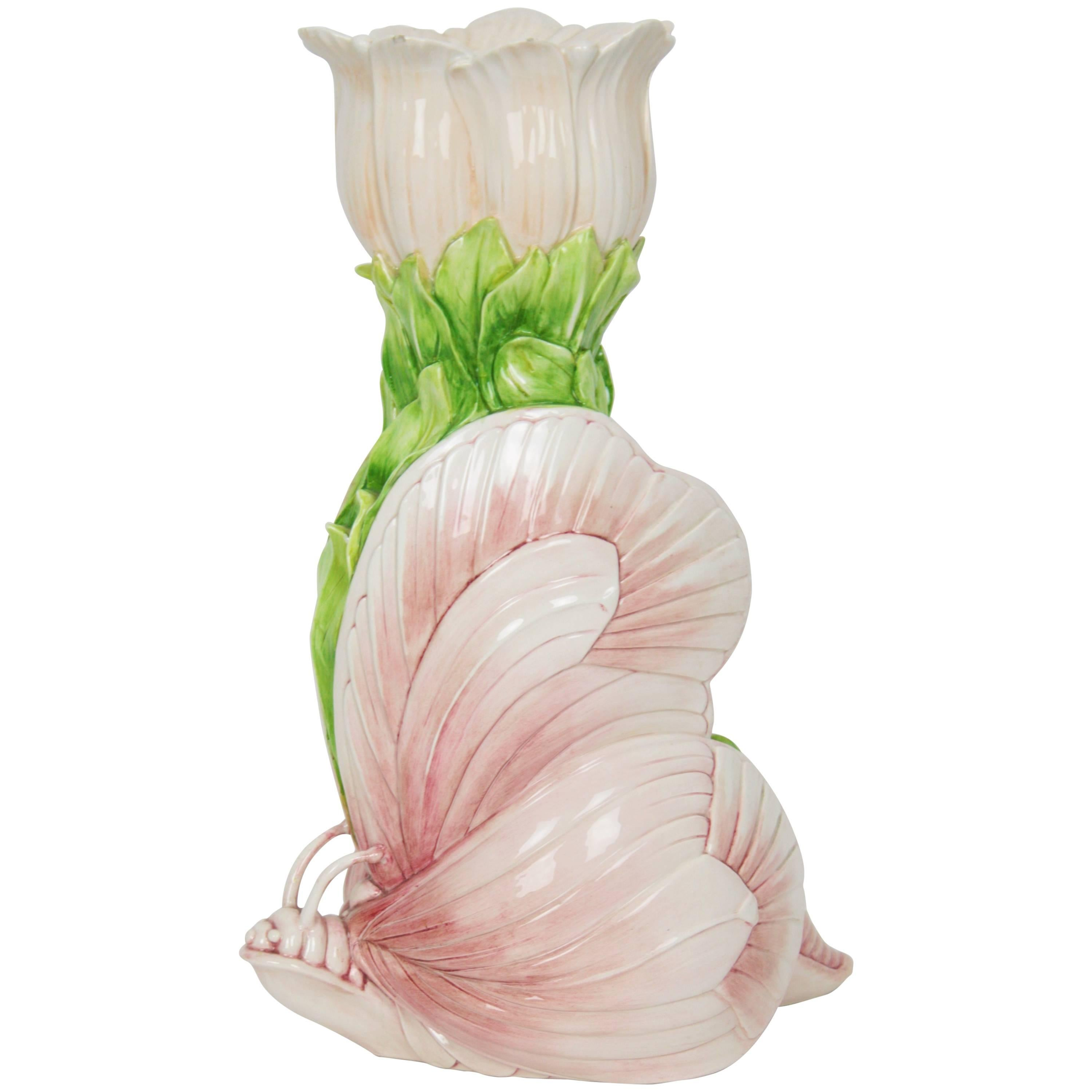 Art Nouveau Liberty Pink White Green Butterfly Ceramic Vase, Italy 1910s