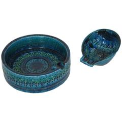 Aldo Londi for Bitossi Set of Rimini Blue Glazed Ceramic Ashtrays