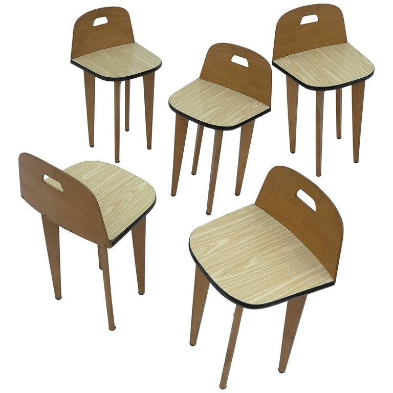 Five Birchwood Stools, France, 1950s