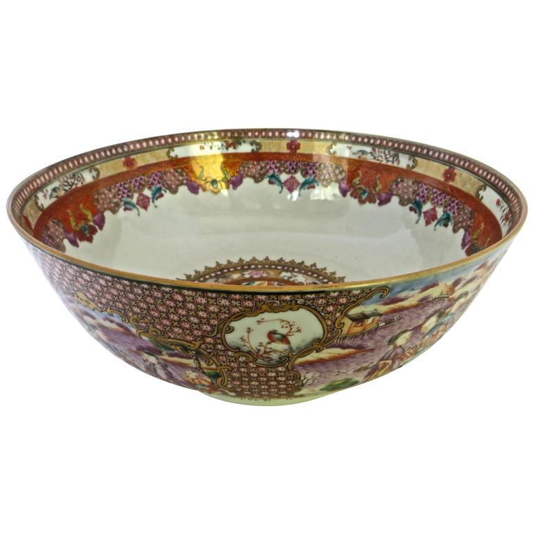 Fine Chinese Export Famille Rose Punch Bowl, circa 18th Century