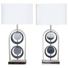 Pair of Vintage Italian Lucite Arch Lamps, circa 1975