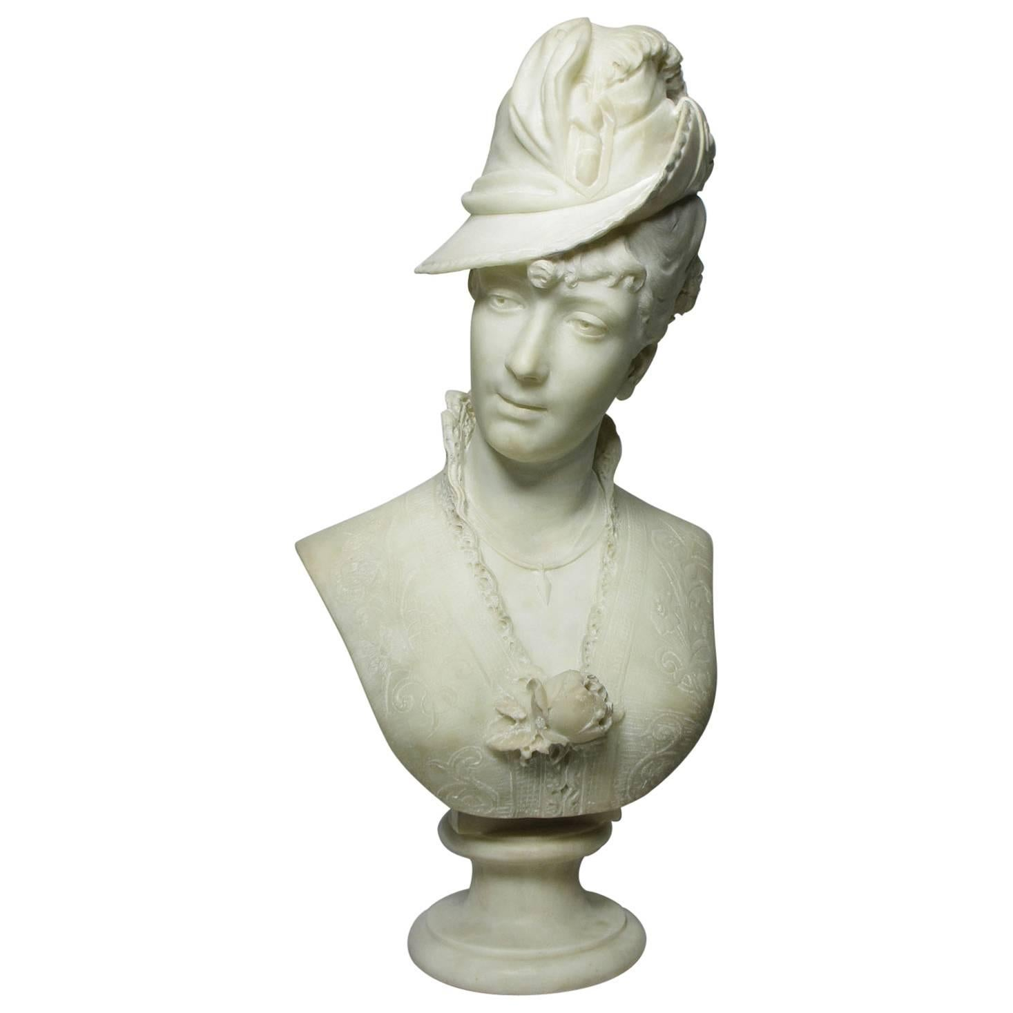 Fine Italian 19th-20th Century Lifesize Carved Marble Bust of a Posing Lady