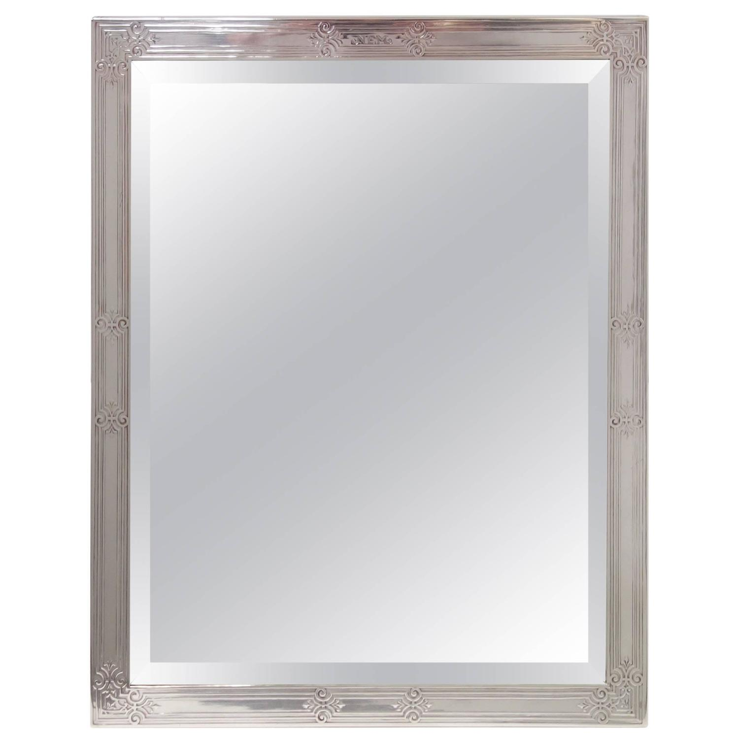 Tiffany and co large sterling silver frame wood backed for Silver framed mirrors on sale
