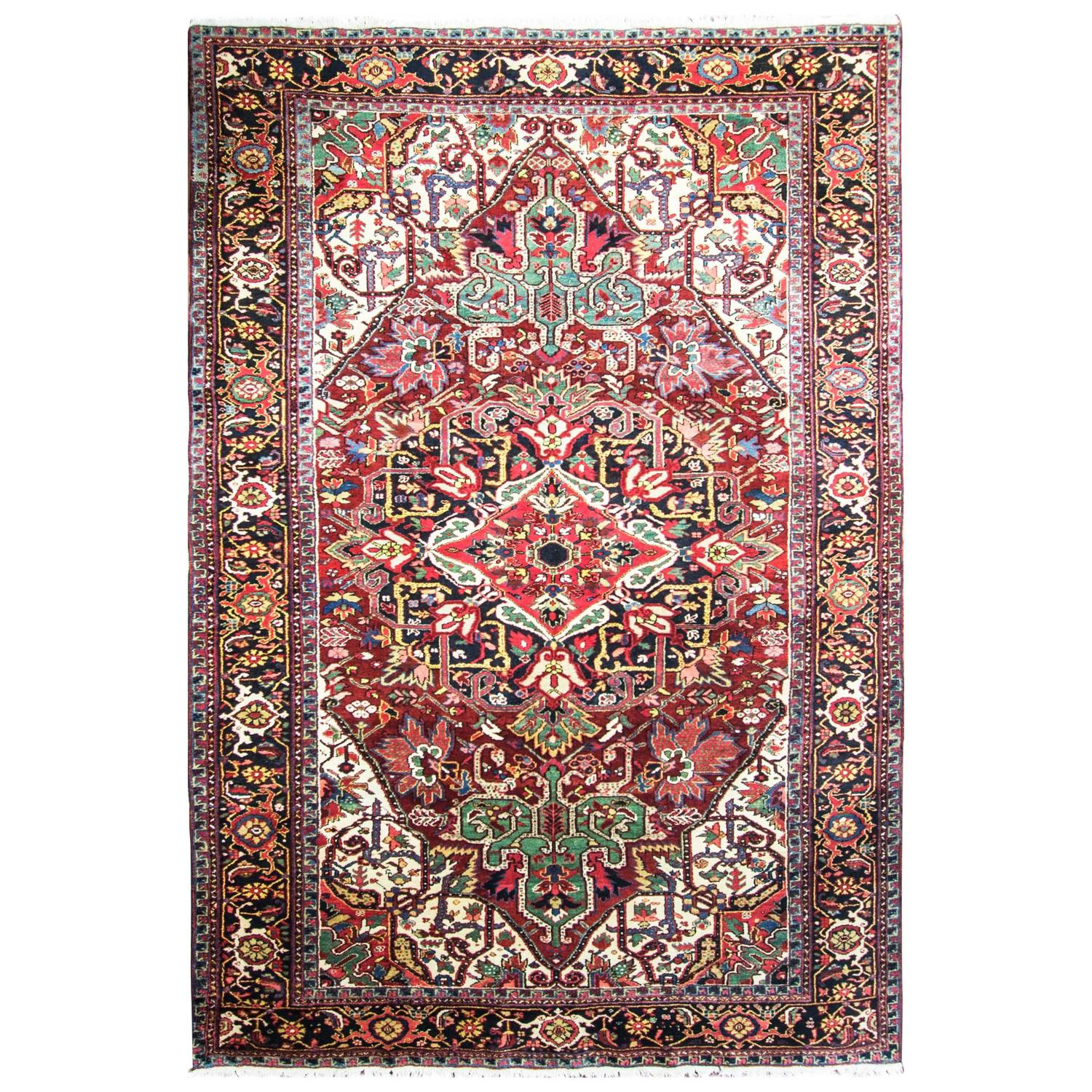 Striking Persian Heriz Carpet For Sale At 1stdibs