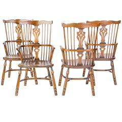 Set of Four Solid Mahogany Windsor Chairs