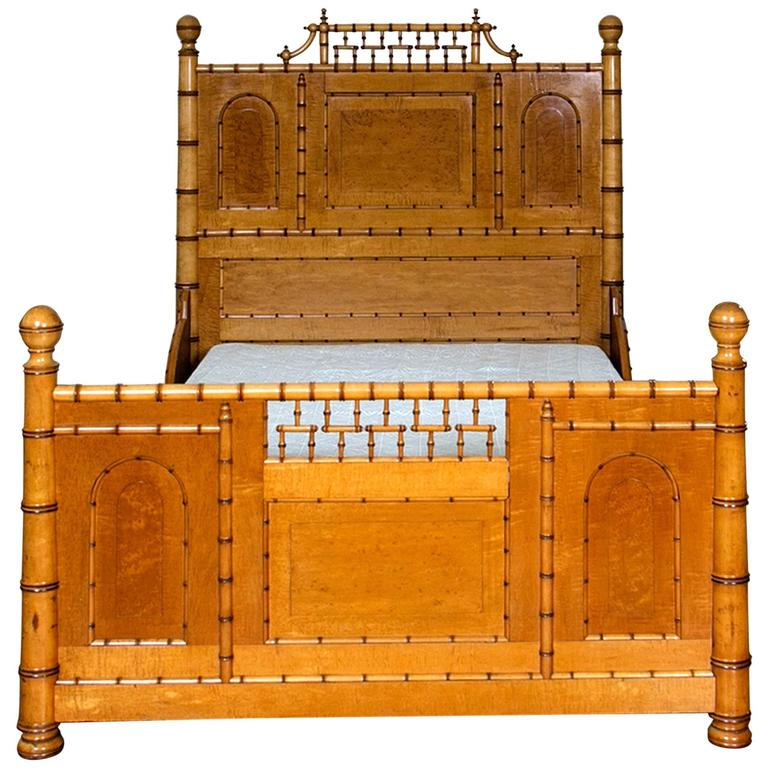 Aesthetic Movement Faux Bamboo Full Bed by R. J. Horner & Co. For Sale