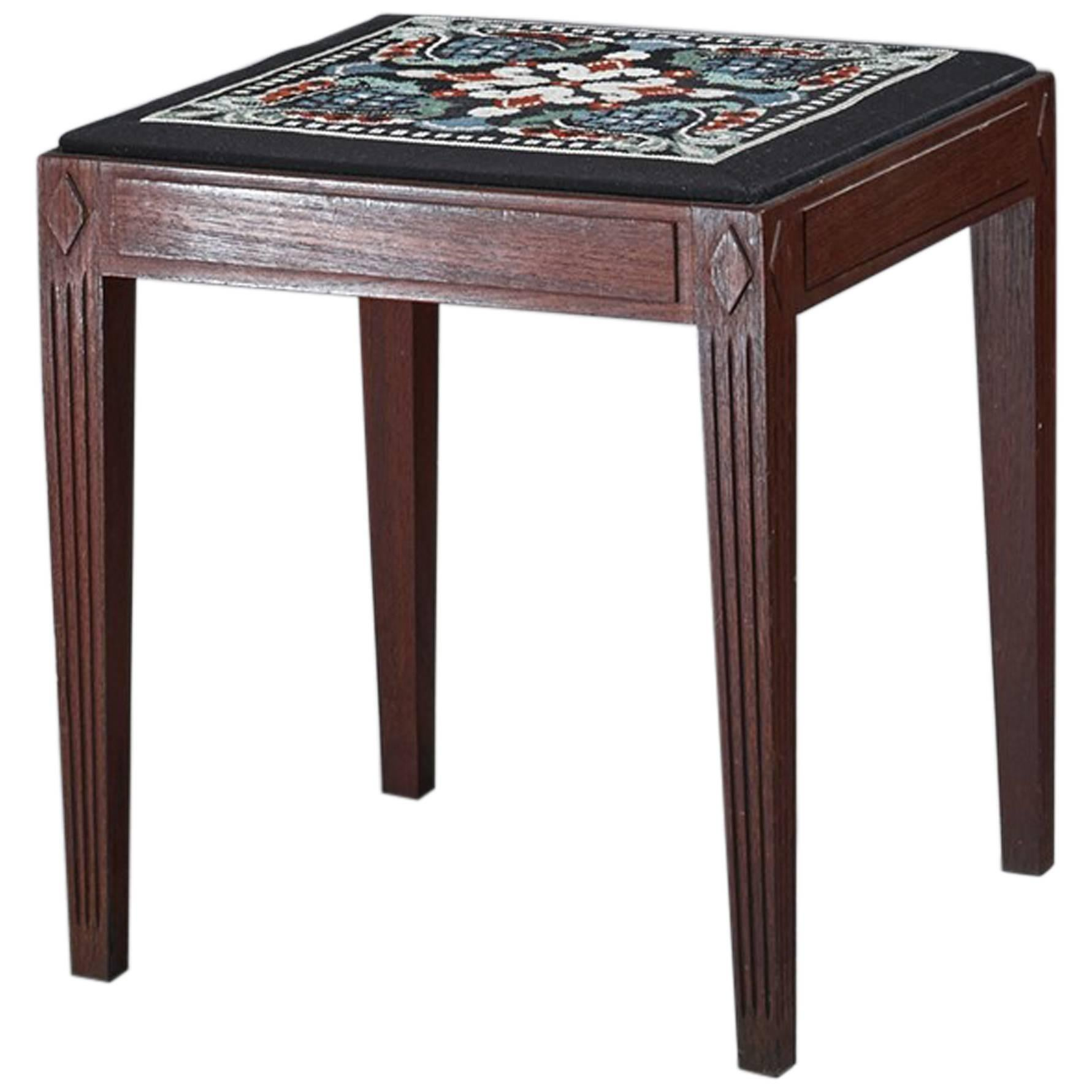 Danish Teak Stool with Embroidered Seating, 1940s