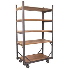 Industrial Five-Tier Wood and Metal Rolling Bar Shelving Cart / Storage Unit