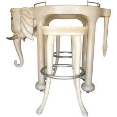 Rare Three Piece 1980s Elephant Bar Table and Stools Custom-Made by Marge Carson