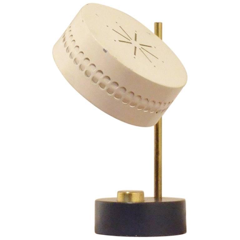 Extra Small Mathieu Matégot Bicolored and Perforated Metal Table Lamp