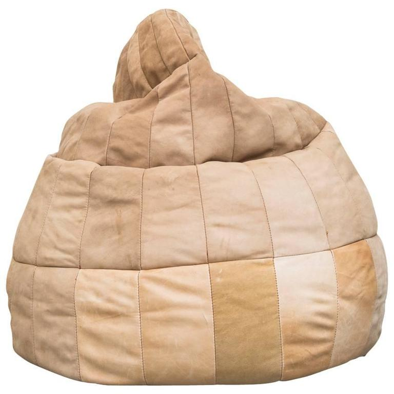 De Sede Style Leather Bean Bag Chair 1