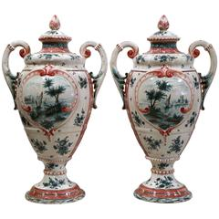 Pair of 19th Century French Hand-Painted Faience Vases with Lids from Provence
