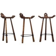 Set of Three Sergio Rodrigues Style Brutalist Wood and Leather Bar Stools