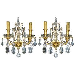 French Pair of Cut Crystal Ormolu-Mounted Sconces, 19th Century