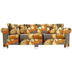 Custom 1970s Sofa with Chrome Feet and Larsen Velvet Upholstery