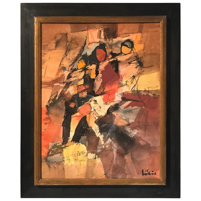 Abstract Watercolor Painting, Signed by Listed Artist Stefan Lokos