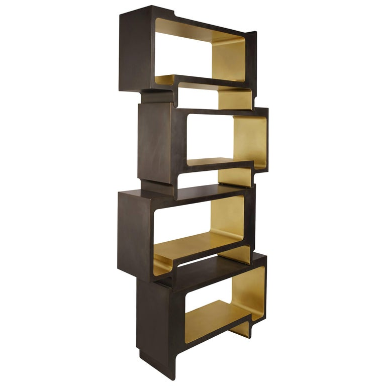 'Xiangsheng II Shelving Unit', a Modular Bronze Bookcase and Room Divider For Sale