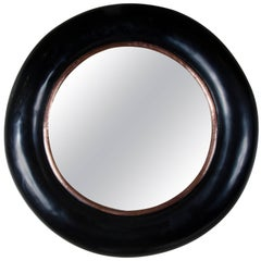 Rounded Mirror with Copper Trim by Robert Kuo, Black Lacquer, Limited Edition