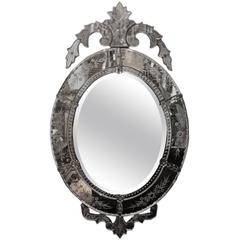 19th Century Oval Venetian Mirror
