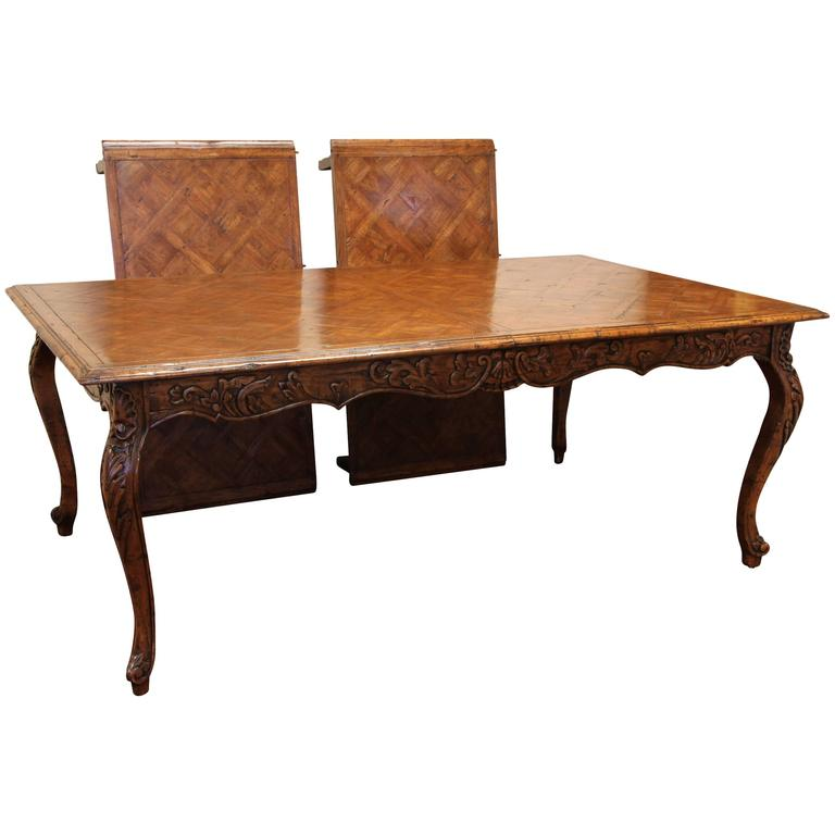 Marquetry Top French Provincial Style Dining Table By Guy Chaddock At 1stdibs