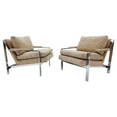 Pair of Mid-Century Modern Cy Mann Chrome Arm Lounge Chair No.232
