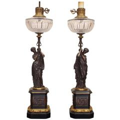 Fine Pair of Figural Bronze and Crystal Table Lamps