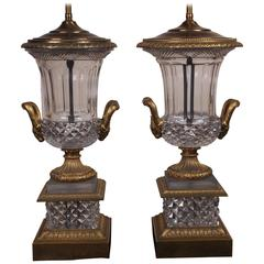 Spectacular Neoclassical Style Pair of Crystal and Bronze Urn Lamps