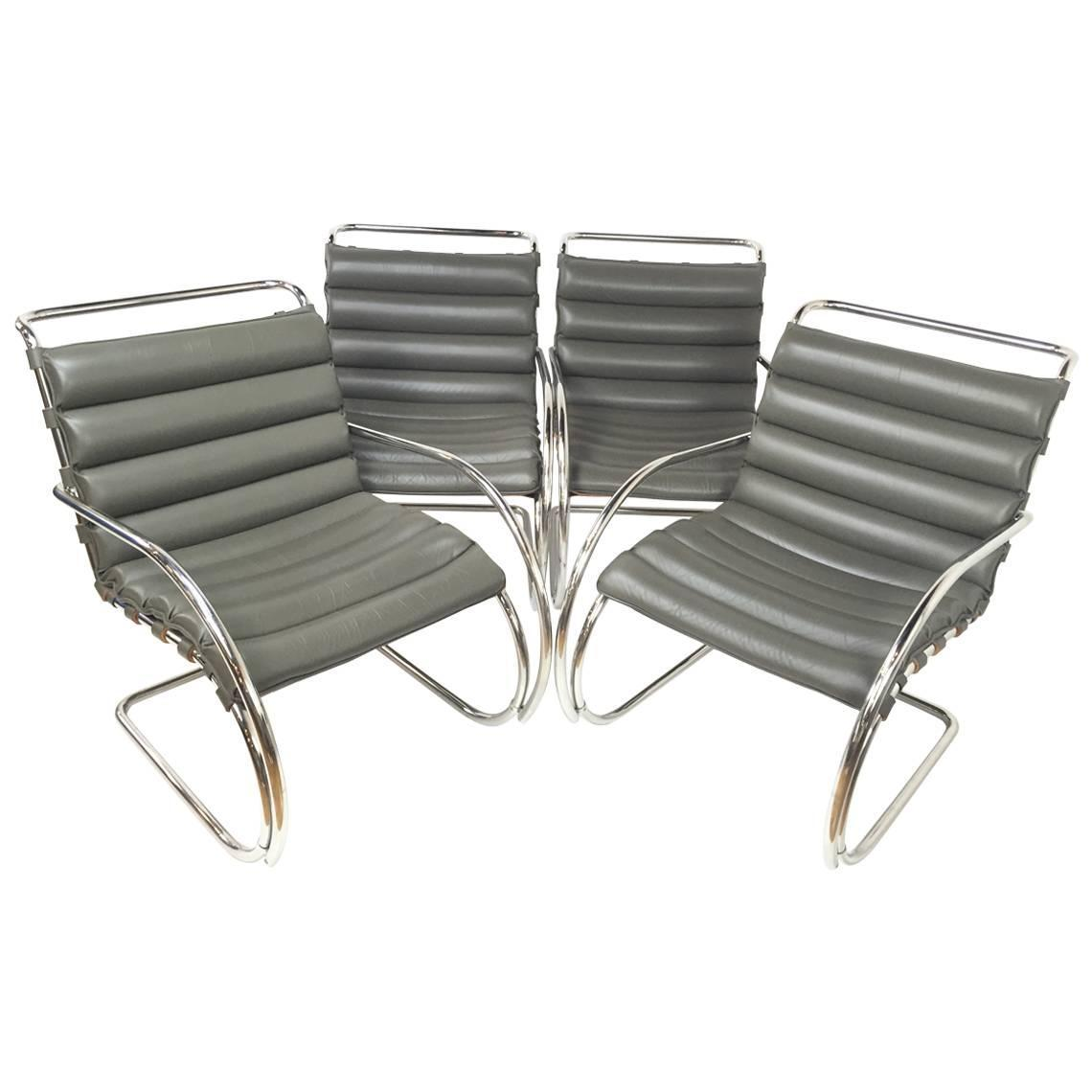 four leather mies van der rohe mr lounge chairs for sale at 1stdibs