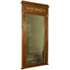 19th Century Restoration Maple Carved Inlaid Gilded Mirror Italy Piemonte